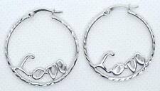 Hoop Love Earrings 925 Sterling Silver Diamond Cut Rhodium 1 1/4 inch Round # 51