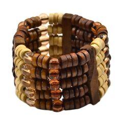 Holzarmband Holz Armband Strecharmband Schmuck Modeschmuck Armbänder Natur neu