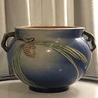 Roseville Pottery Blue Pinecone Planter Jardiniere Vase Vintage Beauty Handles