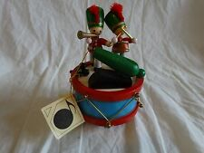 Vintage 70s Flambro Painted Wood Music Box Parade of The Wooden Soldiers New Tag