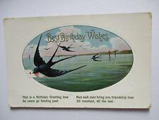 Postcard-Birthday Greeting - Swallows over water - Eye postmark - Gayfer,Garneys