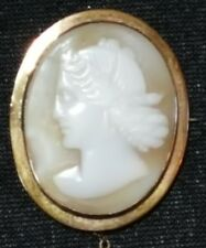 shell cameo vintage Victorian antique brooch 9 carat solid gold & carved