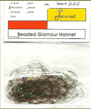 medium brown Jac-O-Net style # 242 blue red beaded glamour hair net