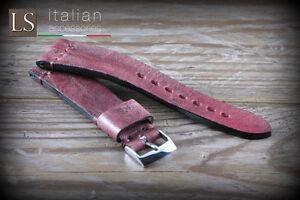 20 22 Genuine Italian Handmade Leather LS ILLINOIS Vintage Watch Strap Red