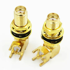 SMA Female Right Angle with Nut Bulkhead  PCB Deck RF Connector