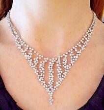 25 QUILATES EN CASCADA Diamante Collar Babero Collar en 18ct Oro Blanco - hm1843