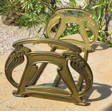 Antique Art Nouveau Bookends Brass 1900s Sliding Decorative Book Holder Large