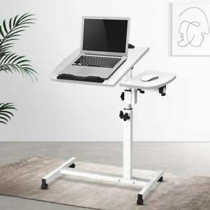 Overbed Table Adjustable Height, Table Angle Mobility / Study Bedside / White