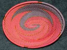 Red Wine Handmade African Zulu Telephone Wire Small Oval Trinket/Soap Dish
