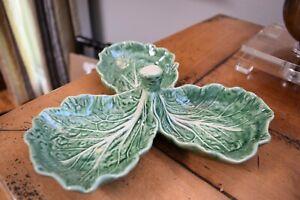 Charming Bordallo Pinheiro Portugal 3 Part Relish Dish Green Cabbage