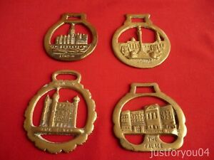 Set of  Four Vintage Horse Brass -  London,The Palace, The Tower Design