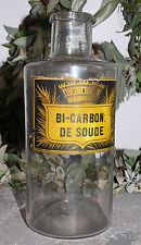 """antikes Apothekerglas / Apothekerflasche, französisch, """"BI CARBON: DE SOUDE"""""""