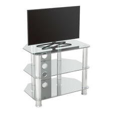 """TV Stand Modern Clear Glass Unit for up to 32"""" inch HD LCD LED Curved TVs - 60cm"""