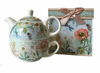 """New Delton 5.8"""" Porcelain Tea for One in Gift Box, Dragonfly"""