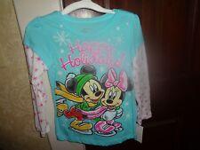 Nwt Disney Girls Mickey & Minnie Happy Holidays Blue Long Sleeve Shirt Size 4T 4