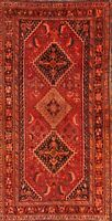 Antique WOOL Geometric Tribal Qashqai Handmade Oriental Runner Rug 4x8