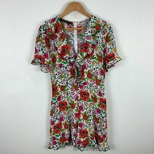Zara Womens Playsuit Romper Size Large Floral Multicoloured Short Sleeve 74.13