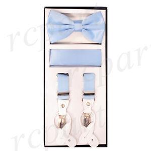 New Y back Men's Vesuvio Napoli Suspenders Bowtie Hankie clip on light blue