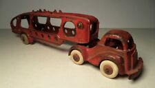 HUBLEY CAST IRON RED CAR AUTO / CARRIER TRANSPORT - ARCADE