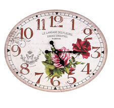 Vintage Country Shabby Chic Wooden Wall Clock With Red Rose Oval Design - Large