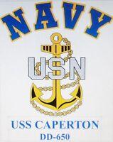 USS CAPERTON  DD-650* DESTROYER U.S NAVY W/ ANCHOR* SHIRT