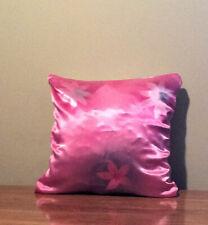 handmade blue flowers satin pillow cover
