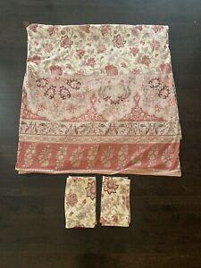 Pottery Barn Set Full Queen Duvet 2 Pillow Shams Red Yellow Cotton Linen EUC