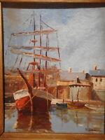 Tableau marine peinture Bretagne Saint Malo rempart voilier ancien trois 3 mats