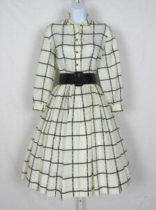 VINTAGE 1960s ANNE FOGARTY DRESS WHITE BLACK STRIPES PATENT BELT LINEN BLEND?