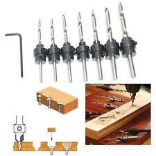 22Pc Tapered Drill & Countersink Bit Screw Set Wood Pilot Hole For Wood 7PCS BTU