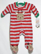 NWT Carter's Just One You Red Gray & Green Striped Holiday Sleeper Reindeer NB