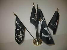 "Pirate Pirates Jolly Roger Set 5 Different Flags 4""x6"" Desk Set Table Gold Base"
