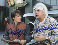 MICHAEL J FOX CHRISTOPHER LLOYD SIGNED BACK TO THE FUTURE 11X14 PHOTO PSA LOA D