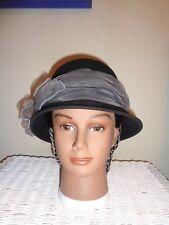 Ladies Civil War Reenactor axter & Wells Black Fashion Hat with Gray Ribbon