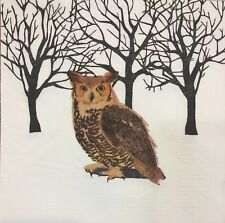 2 single paper napkins for decoupage crafts Winter Forest Animals owl