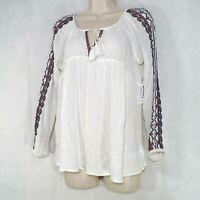 Old Navy Peasant Tunic Top Shirt Tassel Tie Crinkle Women Size XS White Long Slv