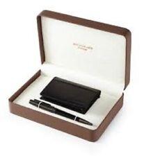 Black Leather Card Wallet and Stylish Grey Pen Jos Von Arx, SE28