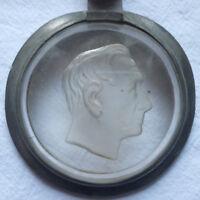 ZINNDECKEL mit Glaseinsatz Goethe ? vor 1918 für Bierkrugdurchmesser 76 mm