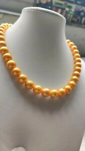Huge 11-12mm south sea gold yellow round pearl necklace 18inch 14k gold