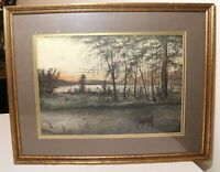 antique original A. Kessel realism landscape watercolor deer lake painting art