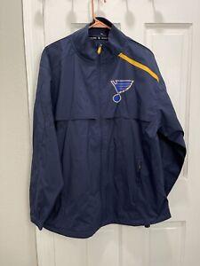 St. Louis Blues Fanatics Pro Water Resistant Full Zip Jacket Blue Men's Large