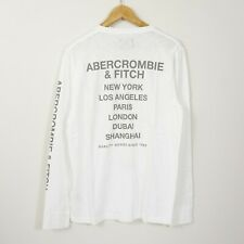 New Abercrombie & Fitch Men's Long Sleeve Graphic Tee White M L XL XXL