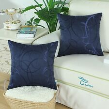 Pack Of 2 Navy Cushion Cover Pillow Shell Modern Circles Rings Geometric 45x45cm