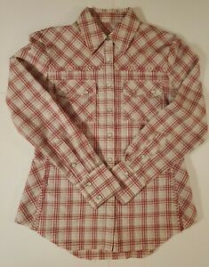 Wild West Wear Pearl Snap Button Up Size XS Western Shirt Plaid (889-46)