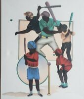 Signed Woodville African American BASEBALL PLAYERS Original Black Art Painting