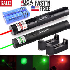 2Pc 900 Miles Green+Red Lamp Laser Pointer Pen Torch Lazer Light Rechargeable