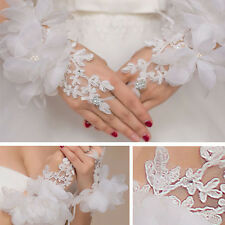 Women White Sheer Lace Floral Gloves Wrist Wedding Lady Costume Opera Party Prom