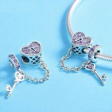 Elegant S925 Key To My Heart Charm With Pink And Purple CZ Stones