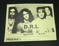 D.R.I. Dirty Rotten Imbeciles Vintage Punk Rock Concert Flyer 1987 Arizona Art