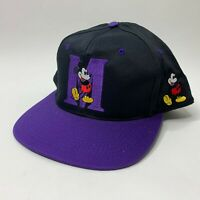 VTG Disney Mickey Mouse Indiana Baseball Cap Black/Purple by Fresh Caps